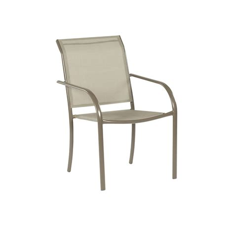 Stackable Patio Chair Shop Garden Treasures Driscol Taupe Steel Stackable Patio Dining Chair With Sling