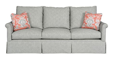 sofa with skirted base customizable grand sofa with fan pleated arms and skirted