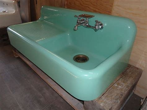 Antique Cast Iron Kitchen Sink With Drainboard Green Antique Cast Iron Farm Farmhouse Drainboard Kitchen Sink Vintage Kitchen Sinks