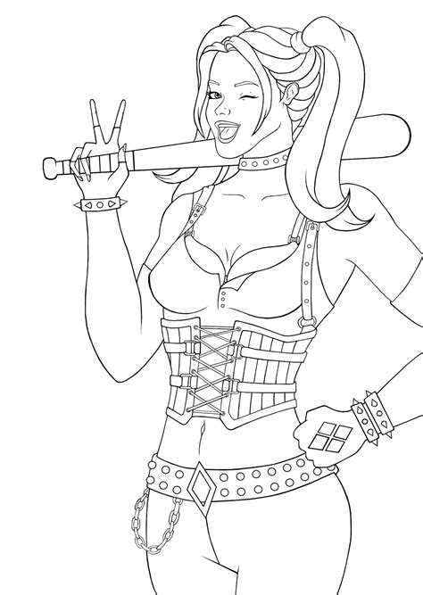 coloring pages harley quinn harley quinn lineart by owlcitydreamer on deviantart