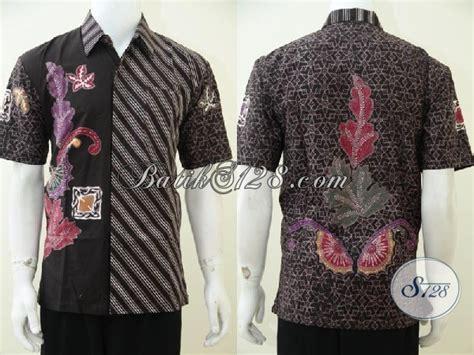 desain baju batik gaul baju batik modern kombinasi dua motif hem batik lengan