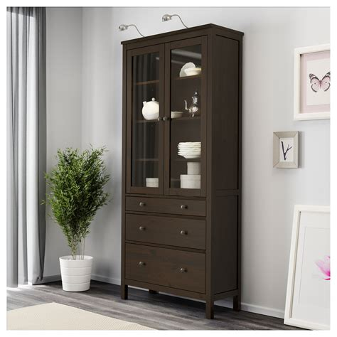 Black Glass Door Cabinet Hemnes Glass Door Cabinet With 3 Drawers Black Brown 90x197 Cm Ikea