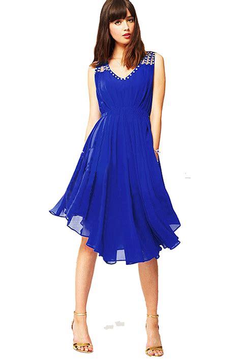 womens beaded chiffon sleeveless dress blue
