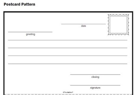 make a card template for 2nd grade writing homeschool parent post card pattern