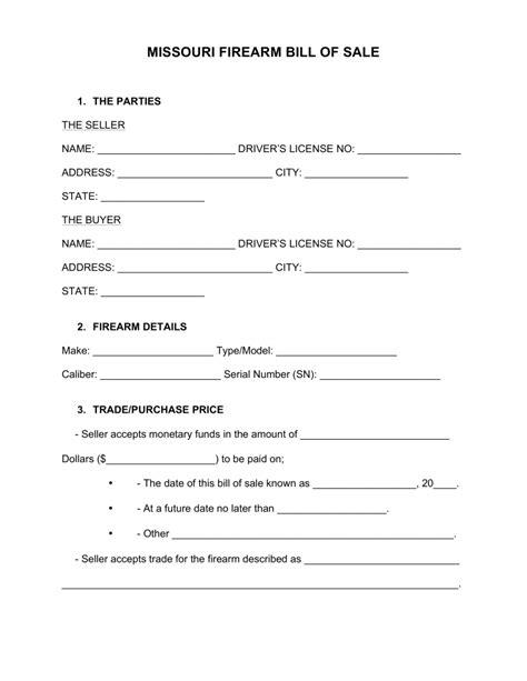 free missouri firearm bill of sale form word pdf