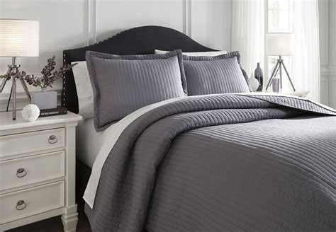 gray bedding sets king raleda gray king comforter set from ashley q498003k