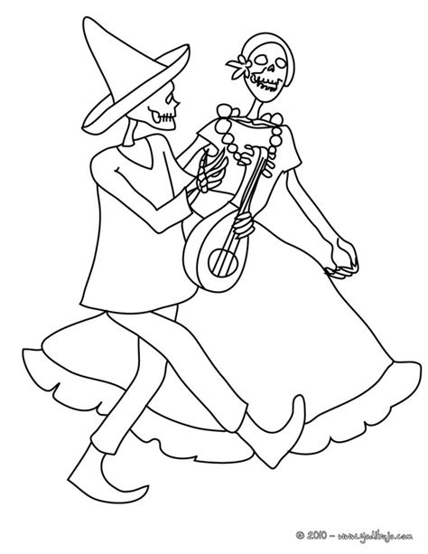day of the dead catrina coloring pages dibujo para colorear catrina y un esqueleto bailando dia