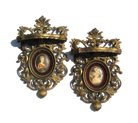 cameo creation wall shelves ornate gold shelf pair by