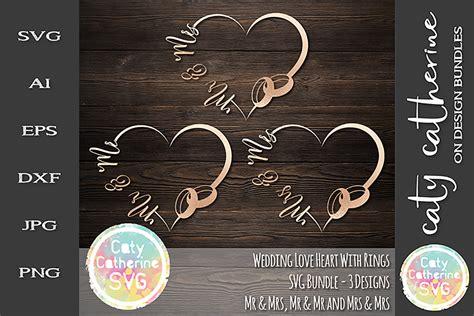 wedding love heart frame  rings bundle svg cut file