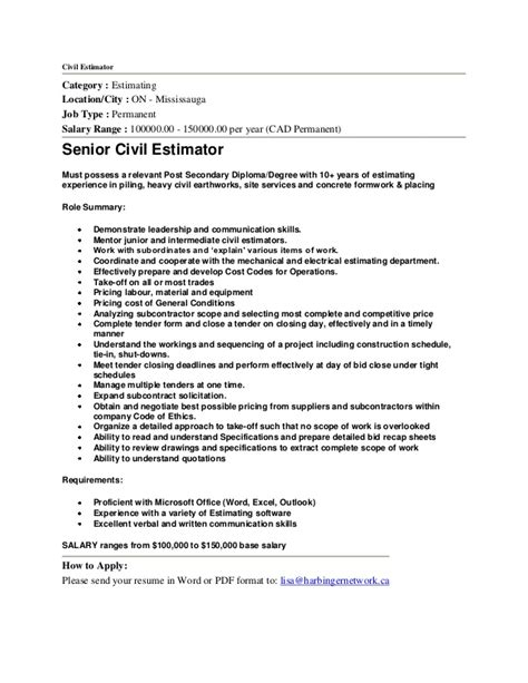 Construction Estimator Resume Sle by Senior Civil Construction Estimator In Mississauga By Hni