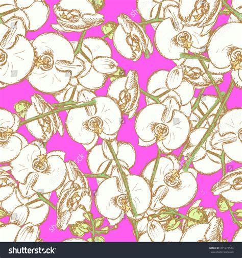 vintage pattern sketch sketch orchid vintage seamless pattern stock illustration