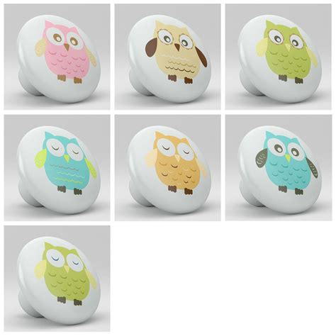 Whimsical Door Knobs by Set Of 7 Whimsical Owls Nursery Ceramic Knobs Pulls Closet