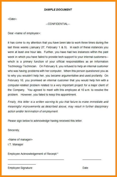 Warning Letter Format Pdf