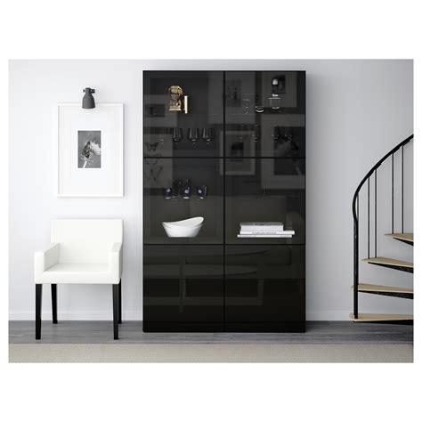 besta zwart best 197 opbergcombinatie met glazen deuren zwartbruin