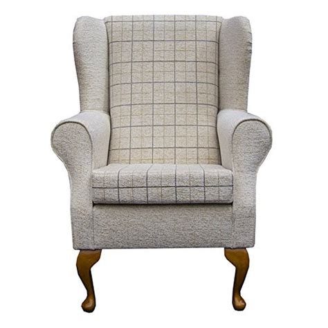 small fabric armchair small westoe wingback armchair in a maida vale check stone