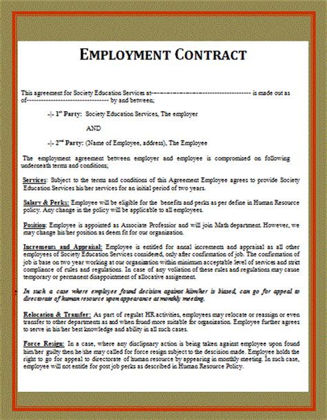 Template Of An Employment Contract free word templates part 2