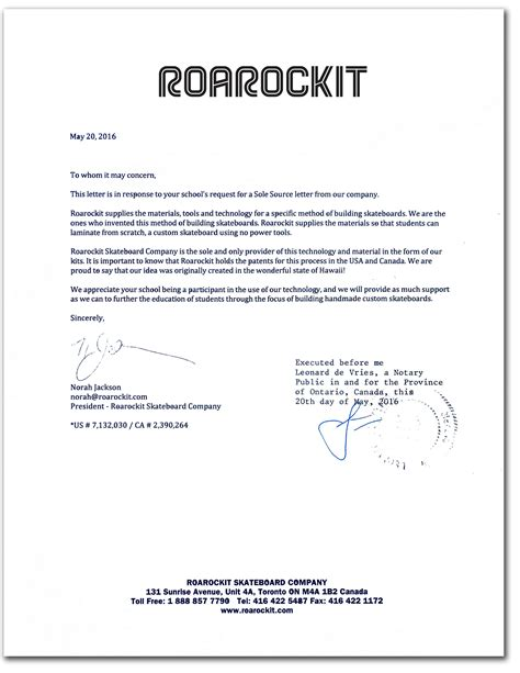 Exle Of Notary Letter