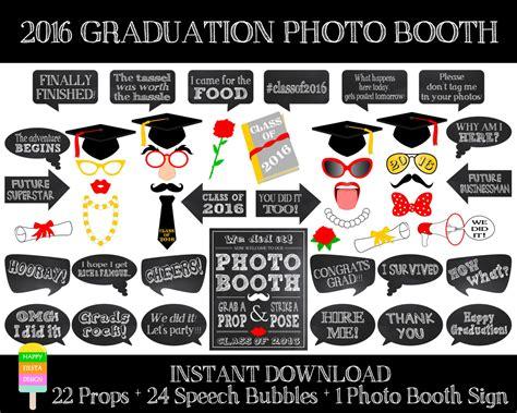 graduation photo booth props printable 2016 printable graduation photo booth props by happyfiestadesign