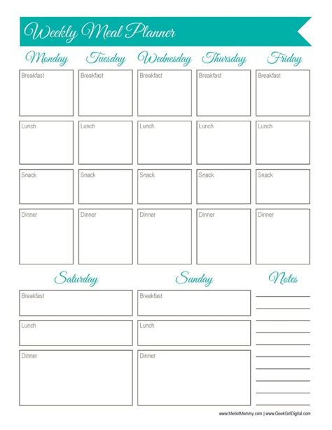 printable planner worksheet 30 days of free printables weekly meal planner worksheet