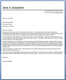 Nanny Resume Cover Letter Nanny Cover Letter Sample Resume Downloads