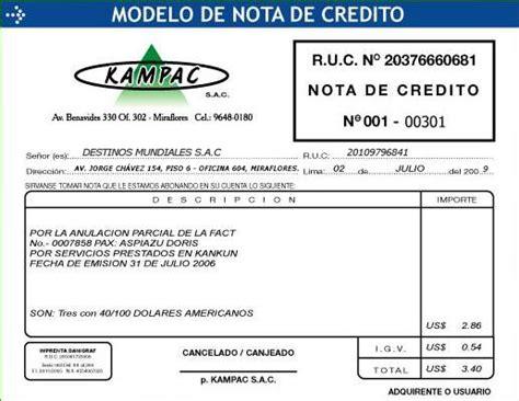 factura nota de cargo nota de credito recibo de procedimientos destinos mundiales per 250