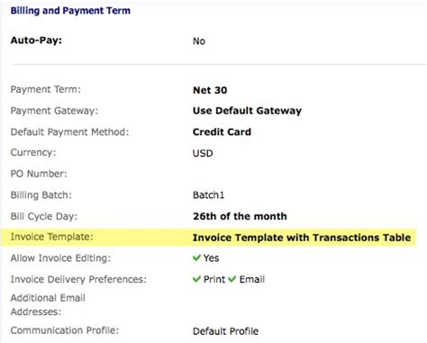 terms of payment template how do i customize an invoice template to show