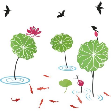 Lotus Flower Print Wall Sticker lotus pond wall stickers wall ideas