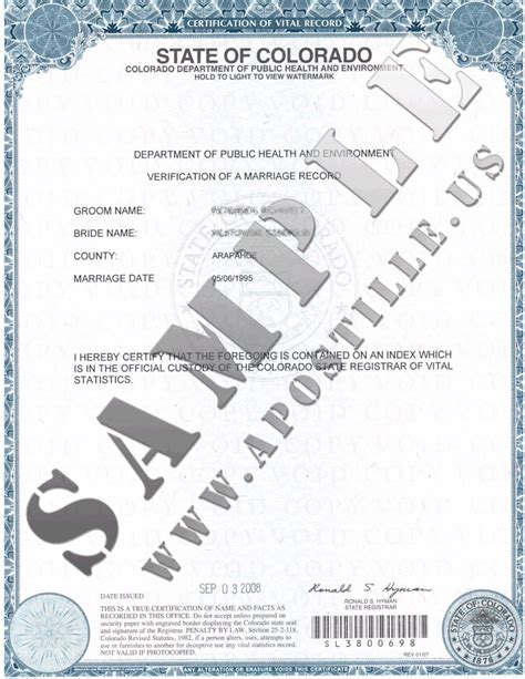Certificate Of No Record Of Marriage Authentications Of Documents State Colorado