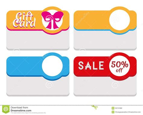 Gift Card Stickers - label tag sticker and card template stock vector image 39701686