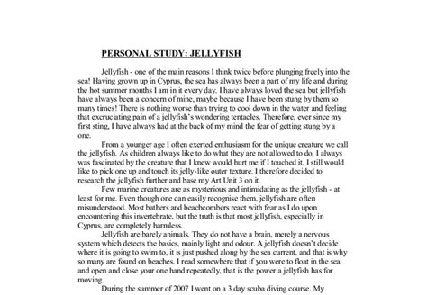 A Level Essay by Personal Study Jellyfish A Level Design Marked By Teachers