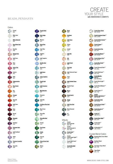 swarovski colors swarovski bead color charts 2013 eureka