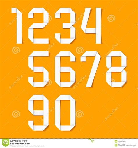 origami number origami numbers set royalty free stock photo image 25670545
