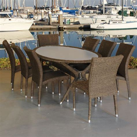 9 Wicker Patio Dining Set by Atlantic Lifestyle Bari Oval 9