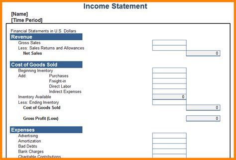Personal Income Statement Template Template Business Personal Profit And Loss Template