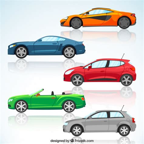 colorful cars set of colorful modern cars vector free