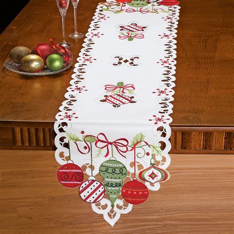 embroidered christmas ornament table linens by