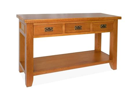 console table with drawers canterbury oak console table with 3 drawers