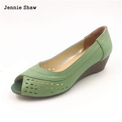 comfortable peep toe wedges summer woman genuine leather peep toe shoe female sandals