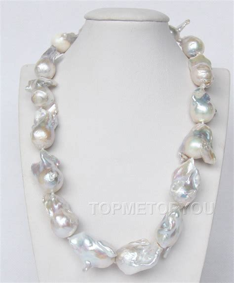 keshi pearl 31mm white baroque reborn keshi pearls necklace e2089