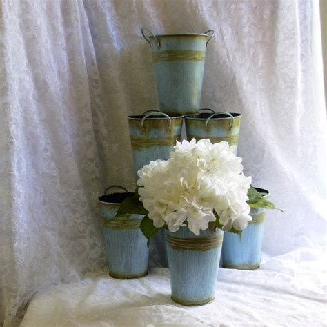 Special Wedding Centerpiece Tins Antiqued Blue Tin Tin Buckets For Centerpieces