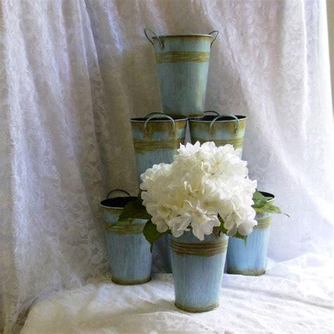 tin buckets for centerpieces special wedding centerpiece tins antiqued blue tin