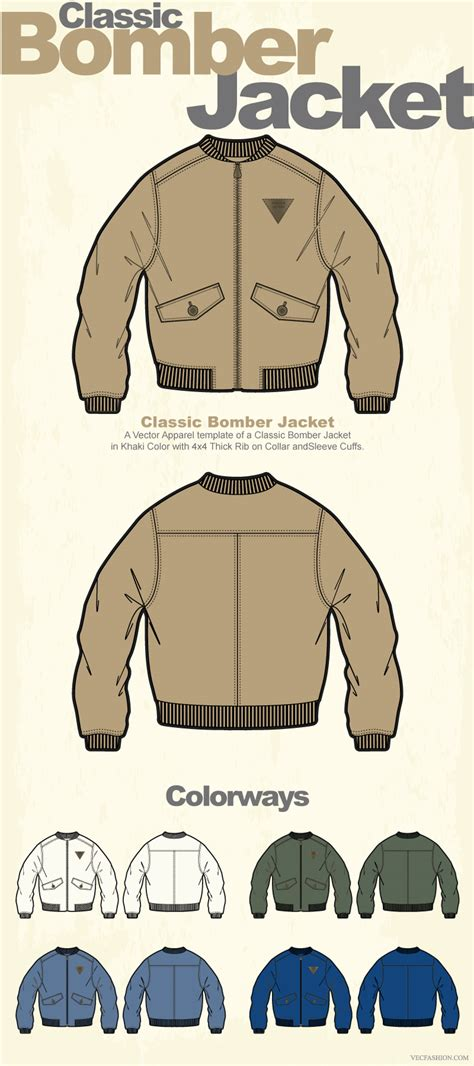 bomber jacket template classic bomber jacket clothing template 도식화