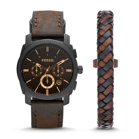 Fossil Fs5215 Machine Chronograp machine chronograph brown leather and bracelet
