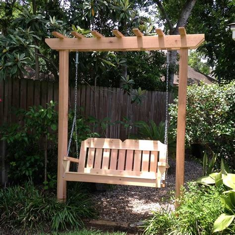 yard swing tmp outdoor furniture victorian red cedar arbor garden swing set
