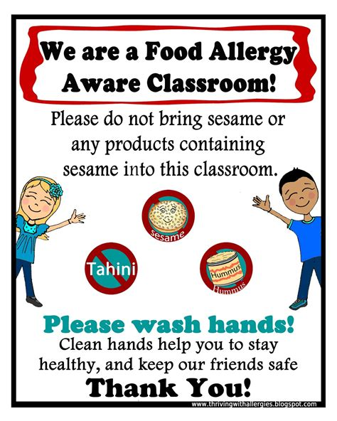 Printable Allergy Alert Poster | thriving with allergies food allergy alert daycare school