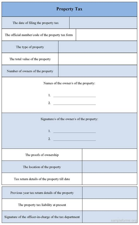 property tax form sle forms