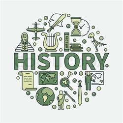 origin of the word history green symbol vector colorful flat circular symbol of the study of past events