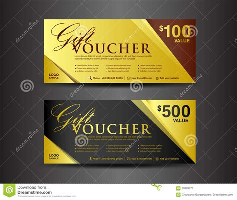 gold and black gift voucher template coupon design ticket