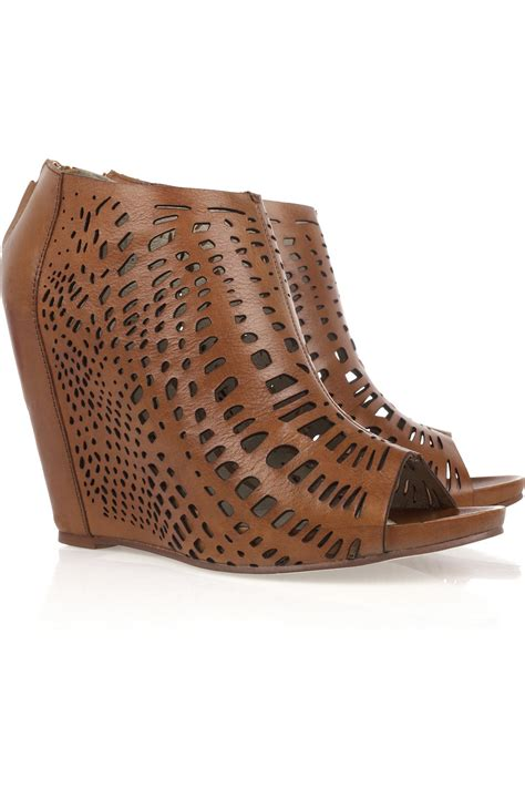 Leather Wedges 1 lyst mea shadow giglio laser cut leather wedges in brown