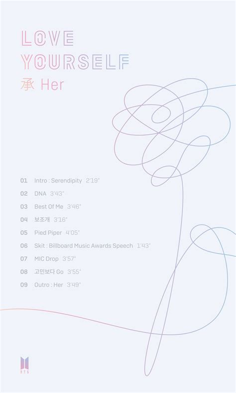 bts love yourself bts reveals track list for quot love yourself her quot soompi